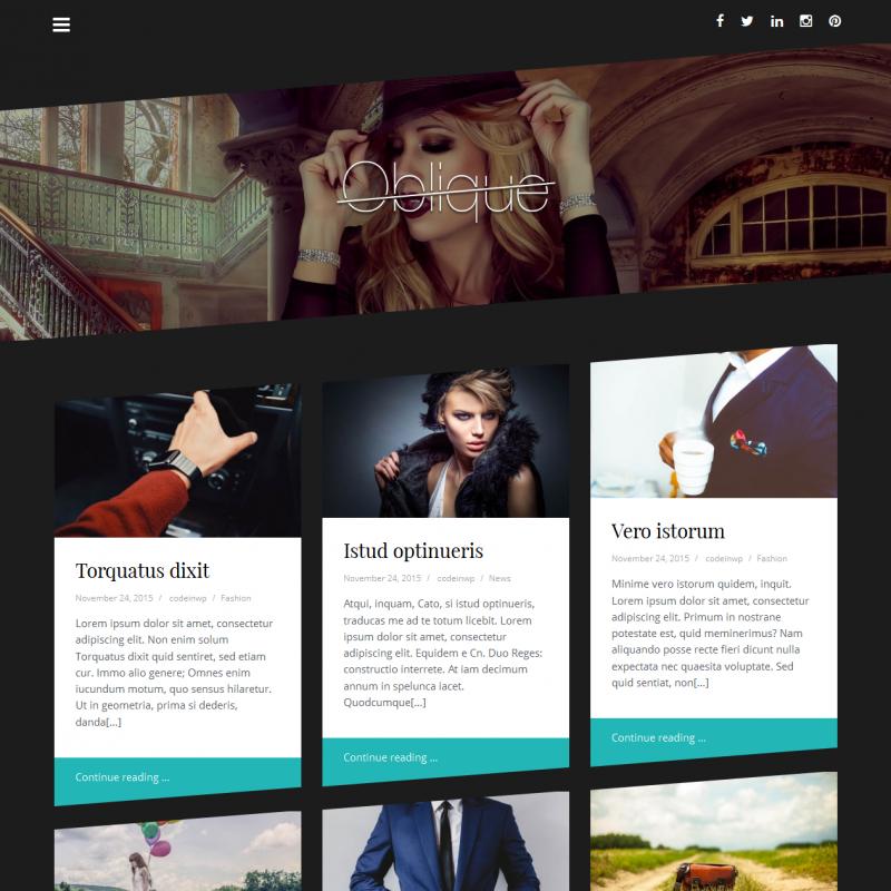 Oblique - Free Fashion Magazine WordPress Theme — WP Style