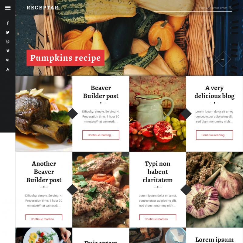 receptar free wordpress theme for recipe blog wp style